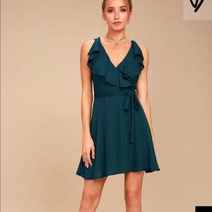 Lulu's teal wrap dress NWT